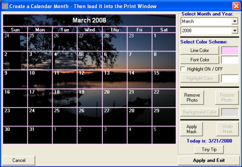 Use photo editor to create calendars